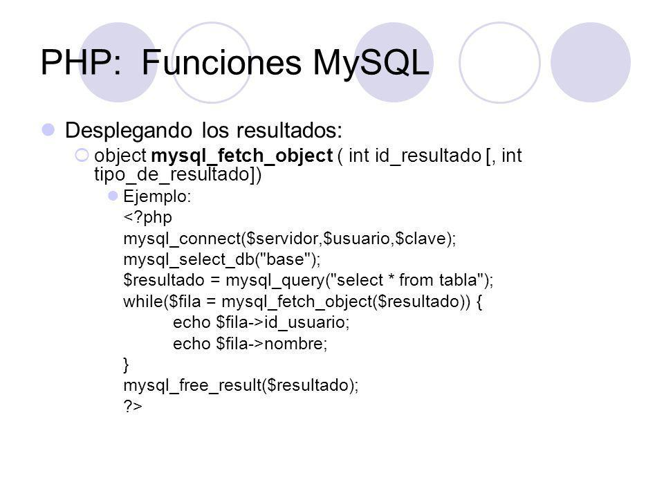 PHP: Funciones MySQL Desplegando los resultados: