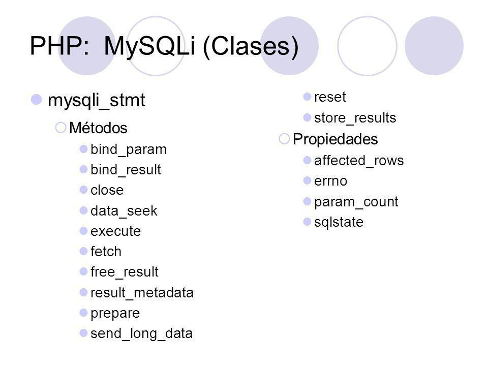 PHP: MySQLi (Clases) mysqli_stmt Métodos Propiedades reset
