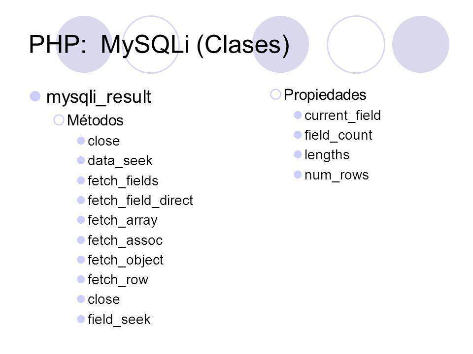 PHP: MySQLi (Clases) mysqli_result Propiedades Métodos current_field