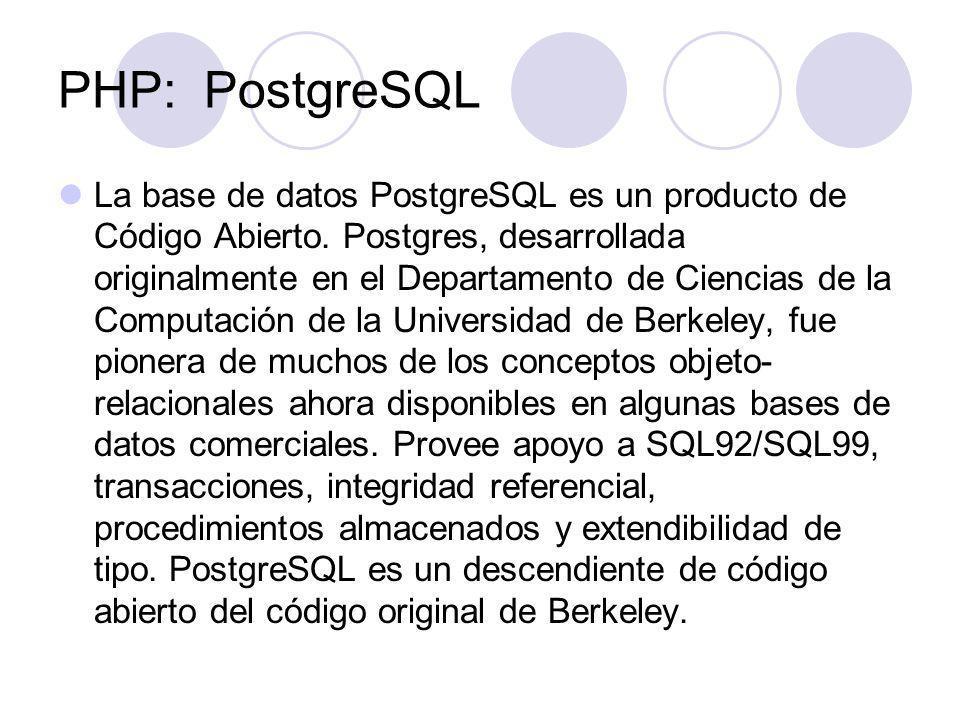 PHP: PostgreSQL