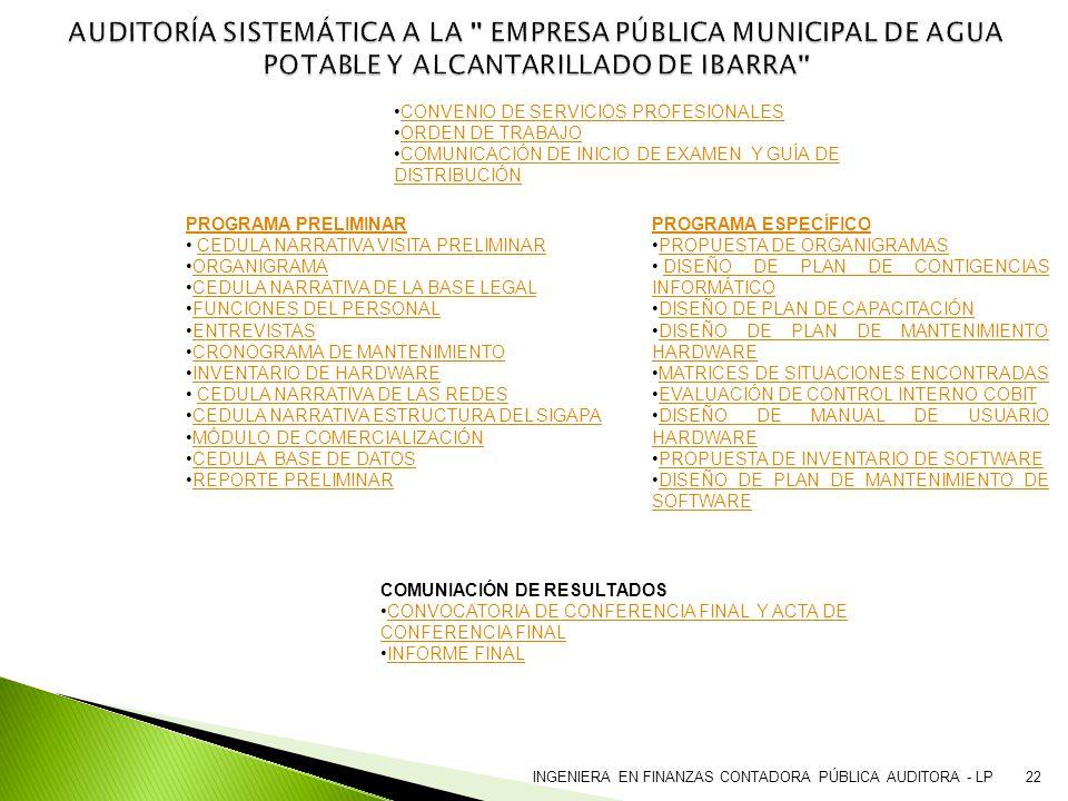 AUDITORÍA SISTEMÁTICA A LA EMPRESA PÚBLICA MUNICIPAL DE AGUA POTABLE Y ALCANTARILLADO DE IBARRA