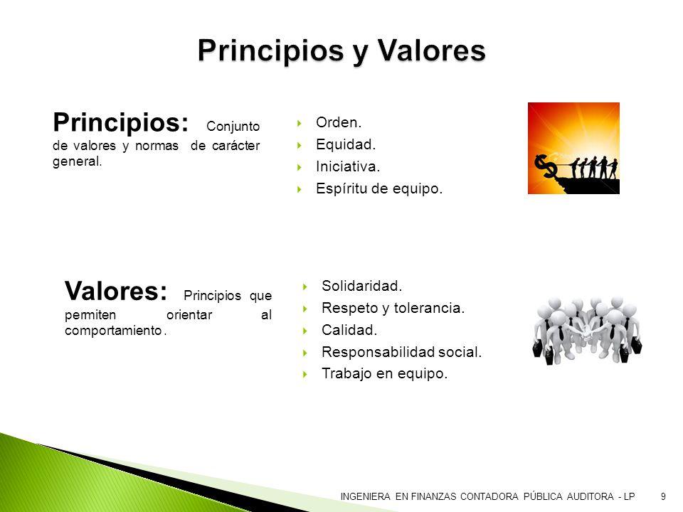 Principios y Valores Principios: Conjunto de valores y normas de carácter general. Orden. Equidad.