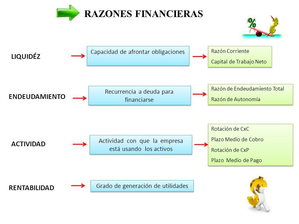 RAZONES FINANCIERAS LIQUIDÉZ ENDEUDAMIENTO ACTIVIDAD RENTABILIDAD
