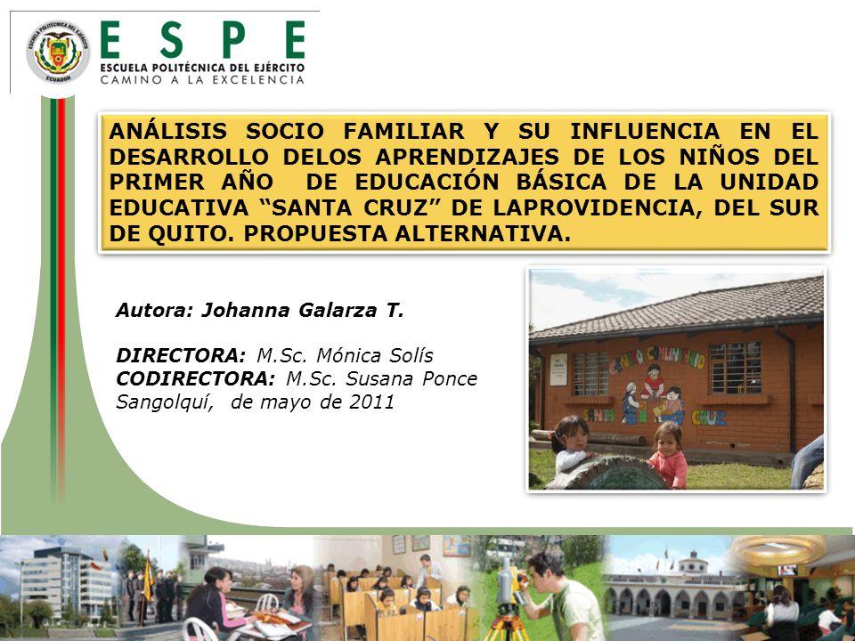 ANÁLISIS SOCIO FAMILIAR Y SU INFLUENCIA EN EL DESARROLLO DELOS APRENDIZAJES DE LOS NIÑOS DEL PRIMER AÑO DE EDUCACIÓN BÁSICA DE LA UNIDAD EDUCATIVA SANTA CRUZ DE LAPROVIDENCIA, DEL SUR DE QUITO. PROPUESTA ALTERNATIVA.