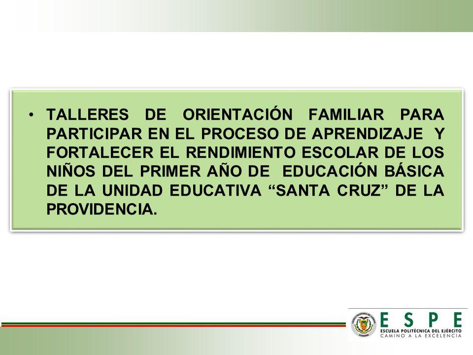 TALLERES DE ORIENTACIÓN FAMILIAR PARA PARTICIPAR EN EL PROCESO DE APRENDIZAJE Y FORTALECER EL RENDIMIENTO ESCOLAR DE LOS NIÑOS DEL PRIMER AÑO DE EDUCACIÓN BÁSICA DE LA UNIDAD EDUCATIVA SANTA CRUZ DE LA PROVIDENCIA.