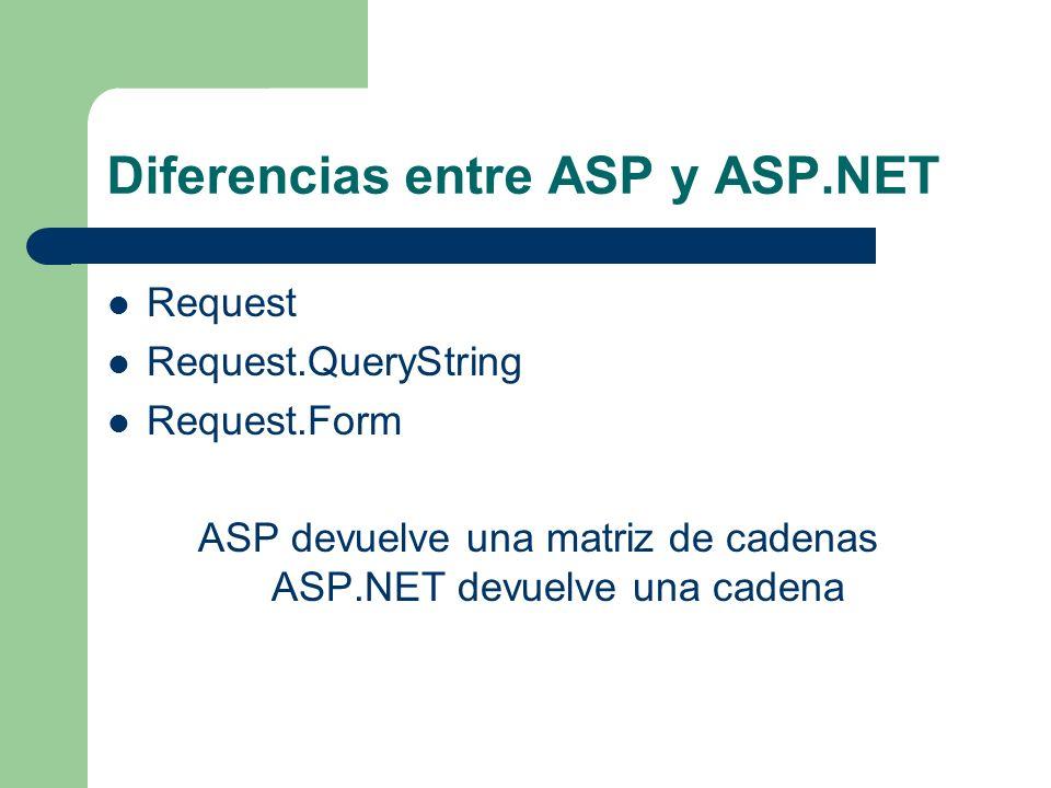 Diferencias entre ASP y ASP.NET