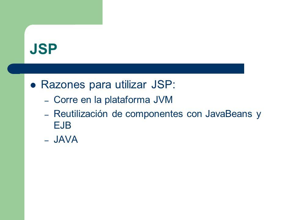 JSP Razones para utilizar JSP: Corre en la plataforma JVM