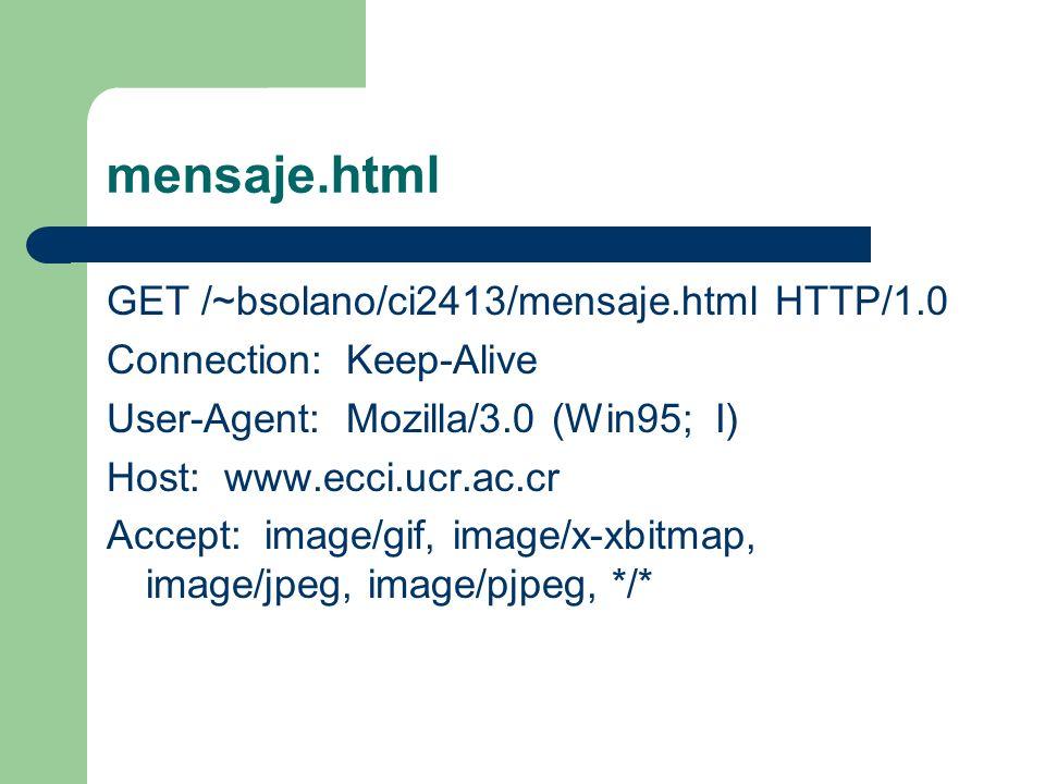 mensaje.html GET /~bsolano/ci2413/mensaje.html HTTP/1.0