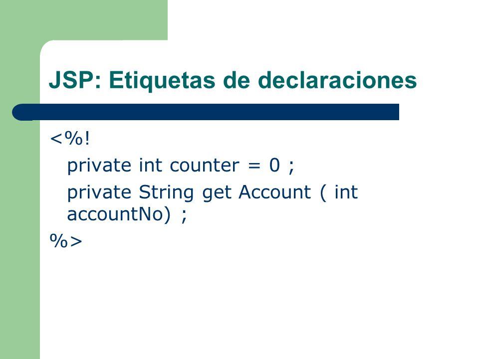 JSP: Etiquetas de declaraciones