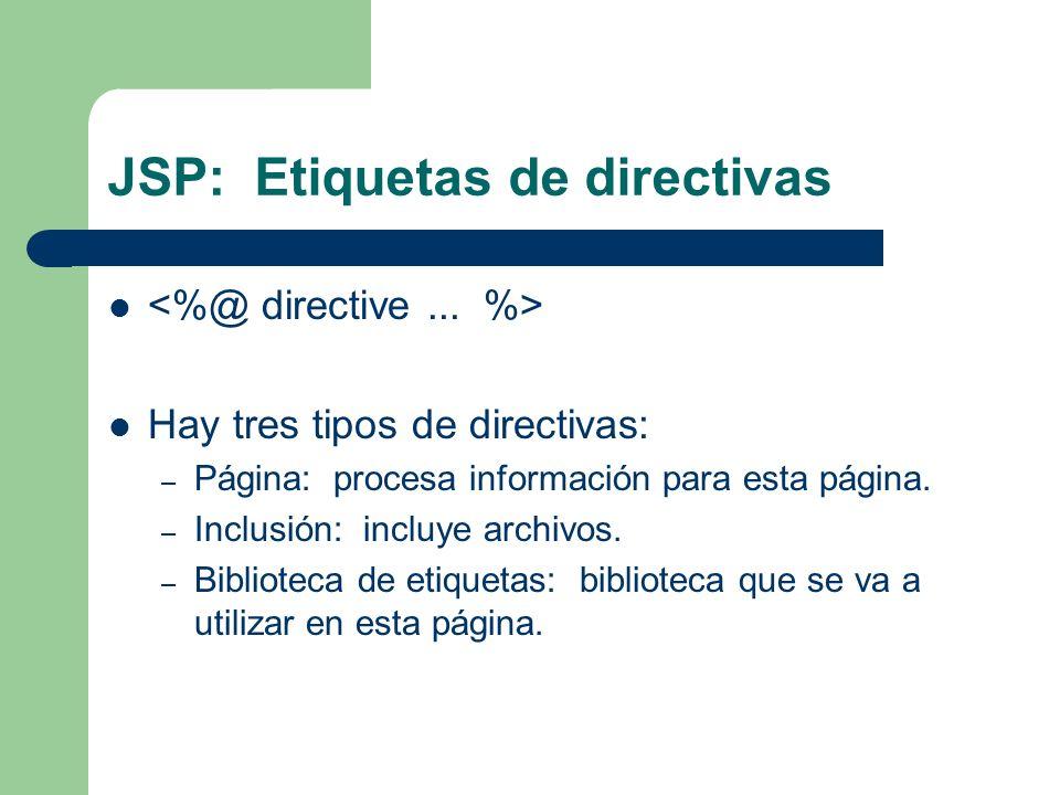 JSP: Etiquetas de directivas