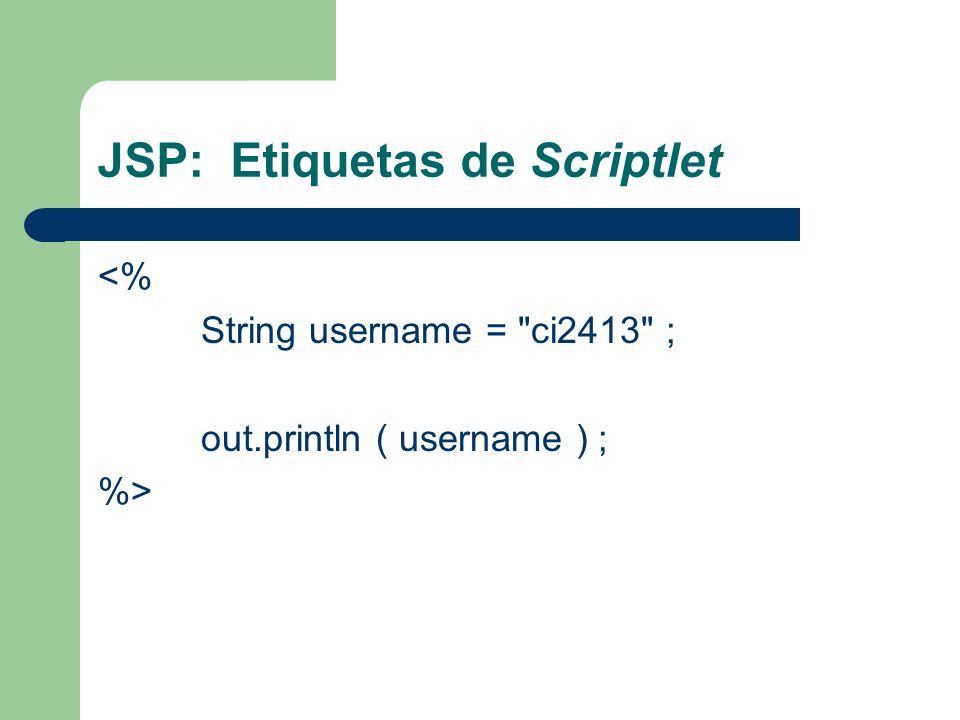 JSP: Etiquetas de Scriptlet