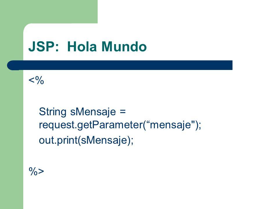 JSP: Hola Mundo <% String sMensaje = request.getParameter( mensaje ); out.print(sMensaje); %>