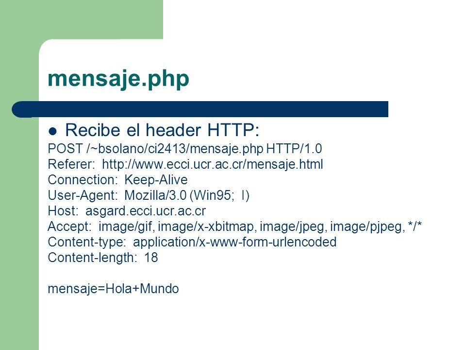 mensaje.php Recibe el header HTTP: