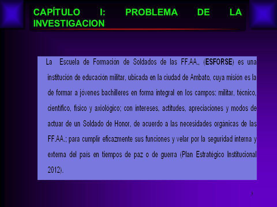 CAPÍTULO I: PROBLEMA DE LA INVESTIGACION