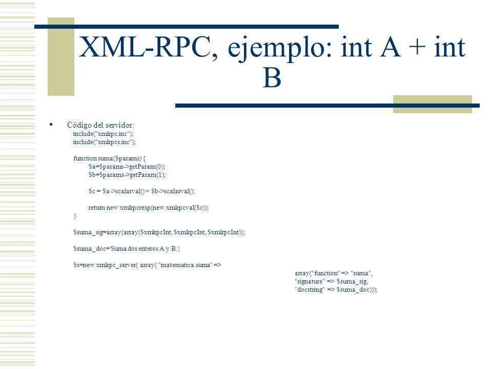 XML-RPC, ejemplo: int A + int B