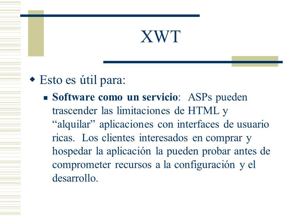 XWT Esto es útil para:
