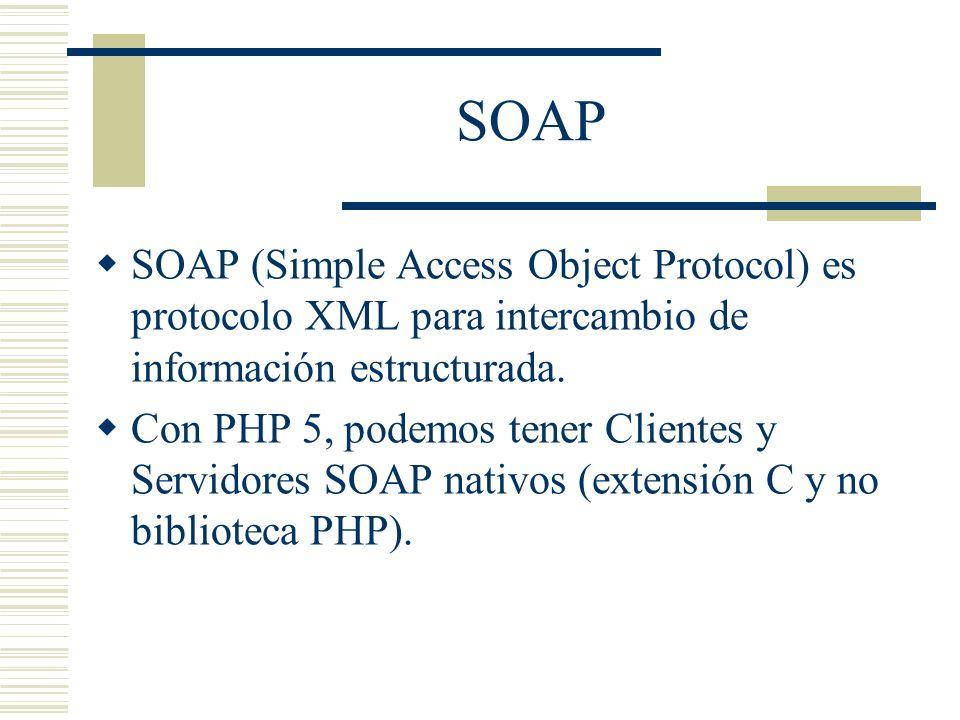 SOAP SOAP (Simple Access Object Protocol) es protocolo XML para intercambio de información estructurada.