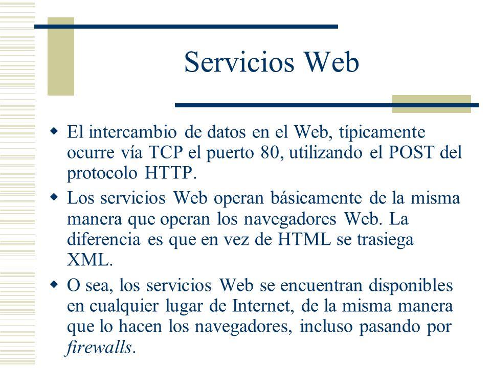 Servicios Web El intercambio de datos en el Web, típicamente ocurre vía TCP el puerto 80, utilizando el POST del protocolo HTTP.