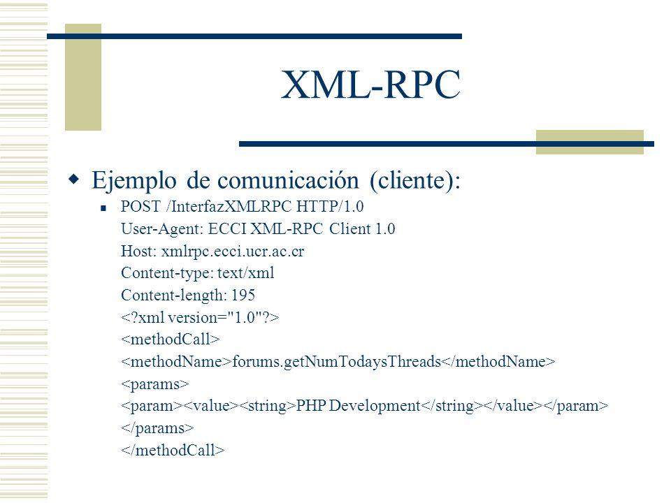 XML-RPC Ejemplo de comunicación (cliente):