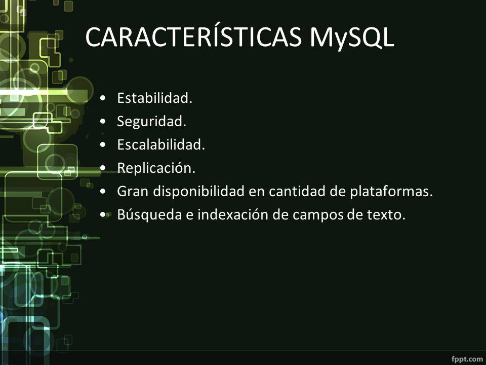 CARACTERÍSTICAS MySQL