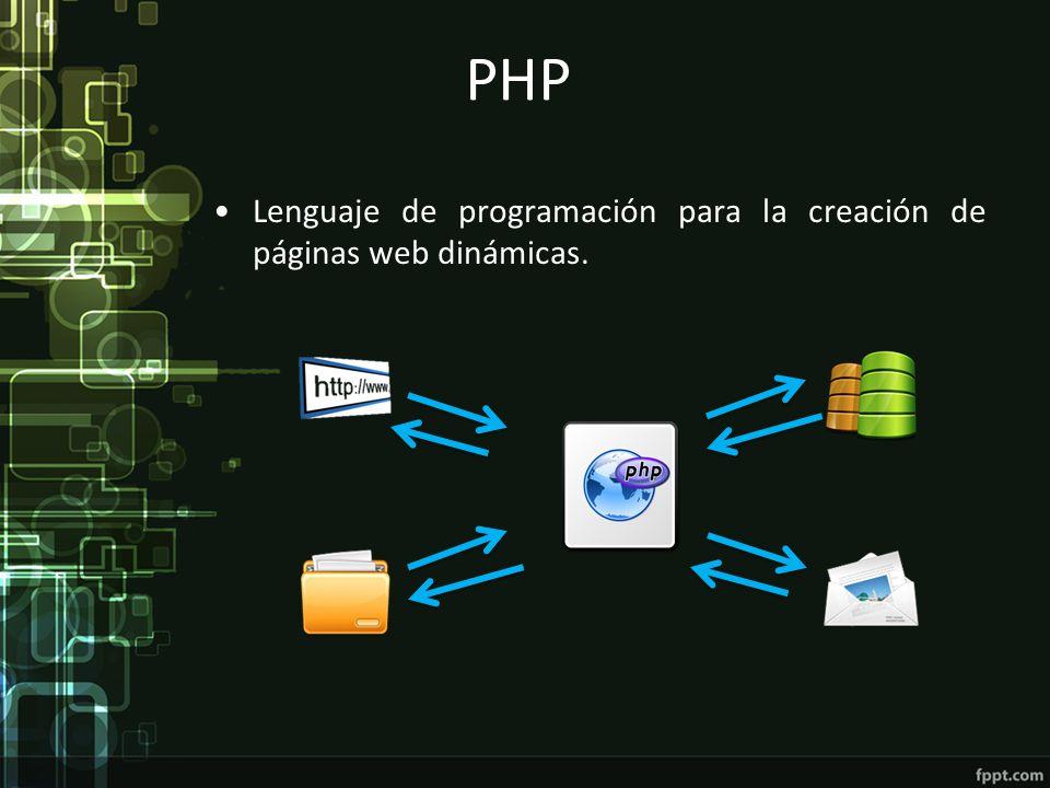 PHP Lenguaje de programación para la creación de páginas web dinámicas.