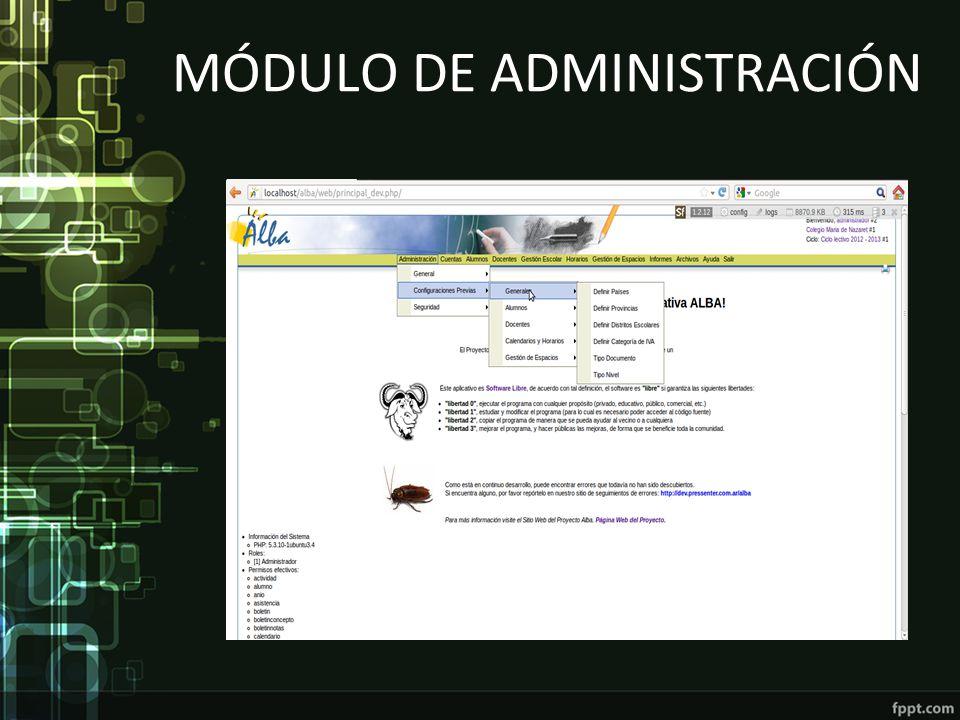 Módulo de Administración