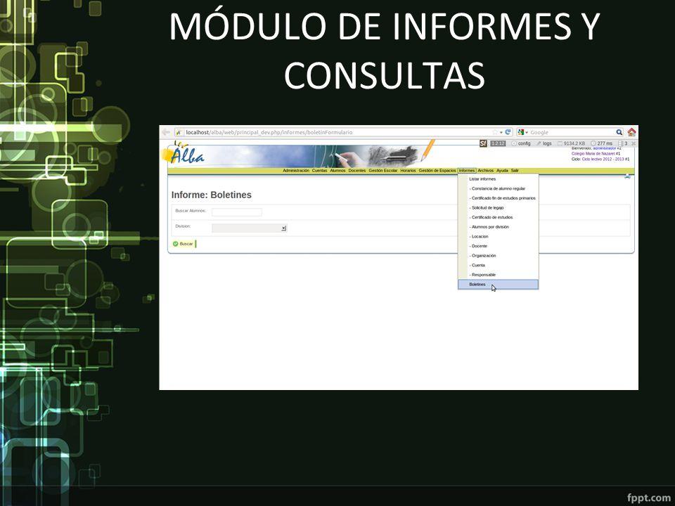 Módulo de informes y consultas
