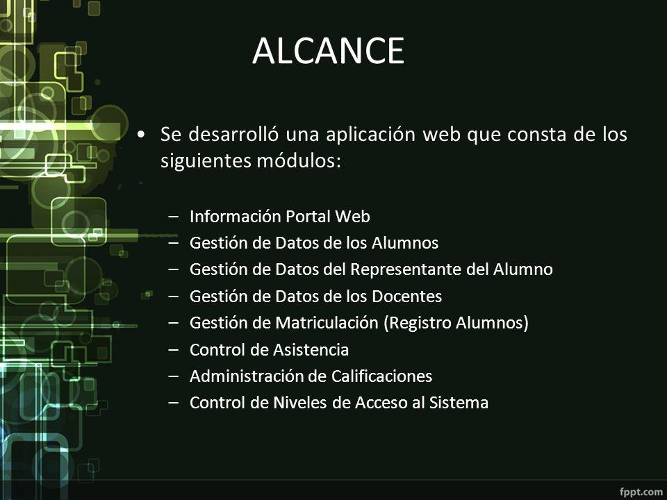 ALCANCE Se desarrolló una aplicación web que consta de los siguientes módulos: Información Portal Web.