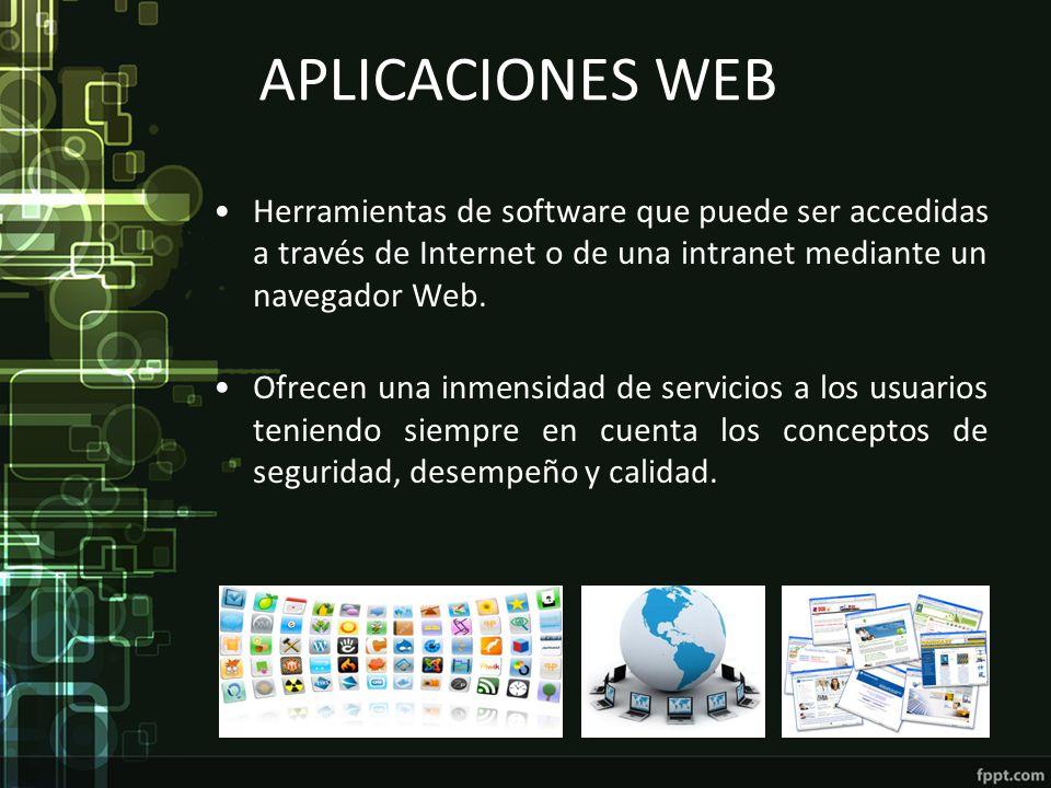 APLICACIONES WEB Herramientas de software que puede ser accedidas a través de Internet o de una intranet mediante un navegador Web.