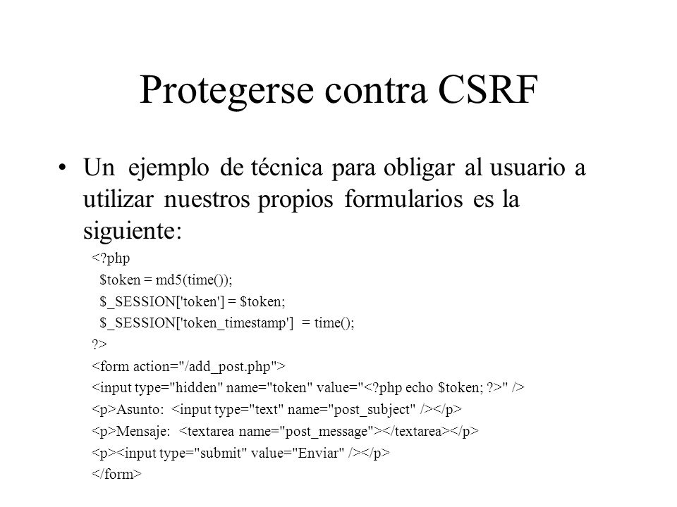 Protegerse contra CSRF