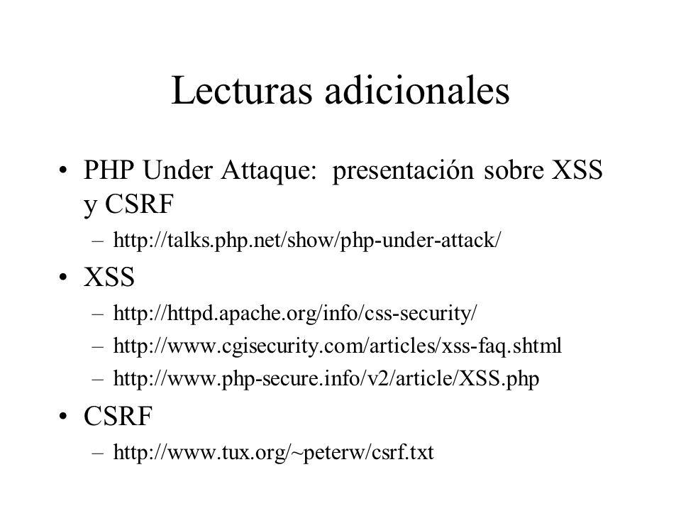 Lecturas adicionales PHP Under Attaque: presentación sobre XSS y CSRF