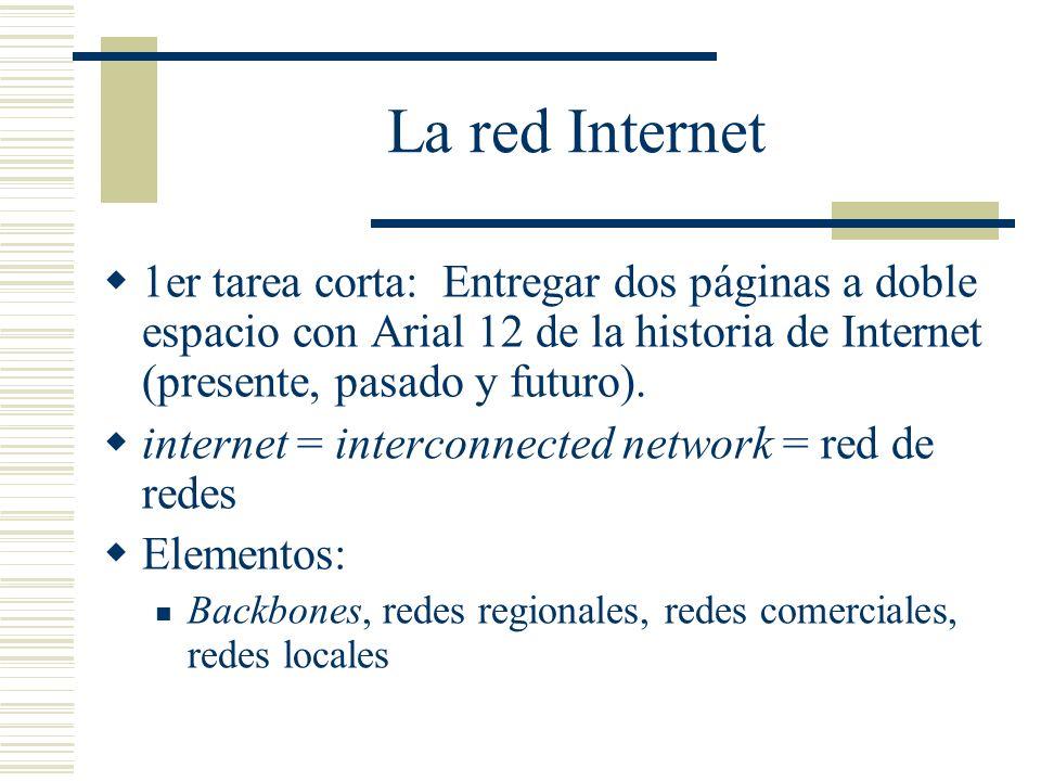 La red Internet 1er tarea corta: Entregar dos páginas a doble espacio con Arial 12 de la historia de Internet (presente, pasado y futuro).