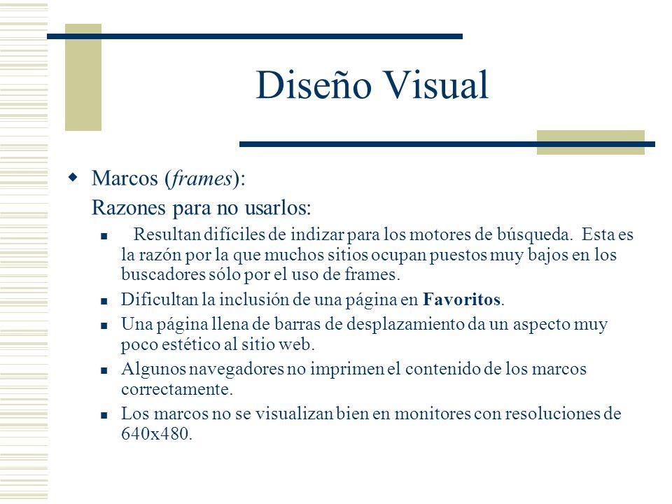 Diseño Visual Marcos (frames): Razones para no usarlos: