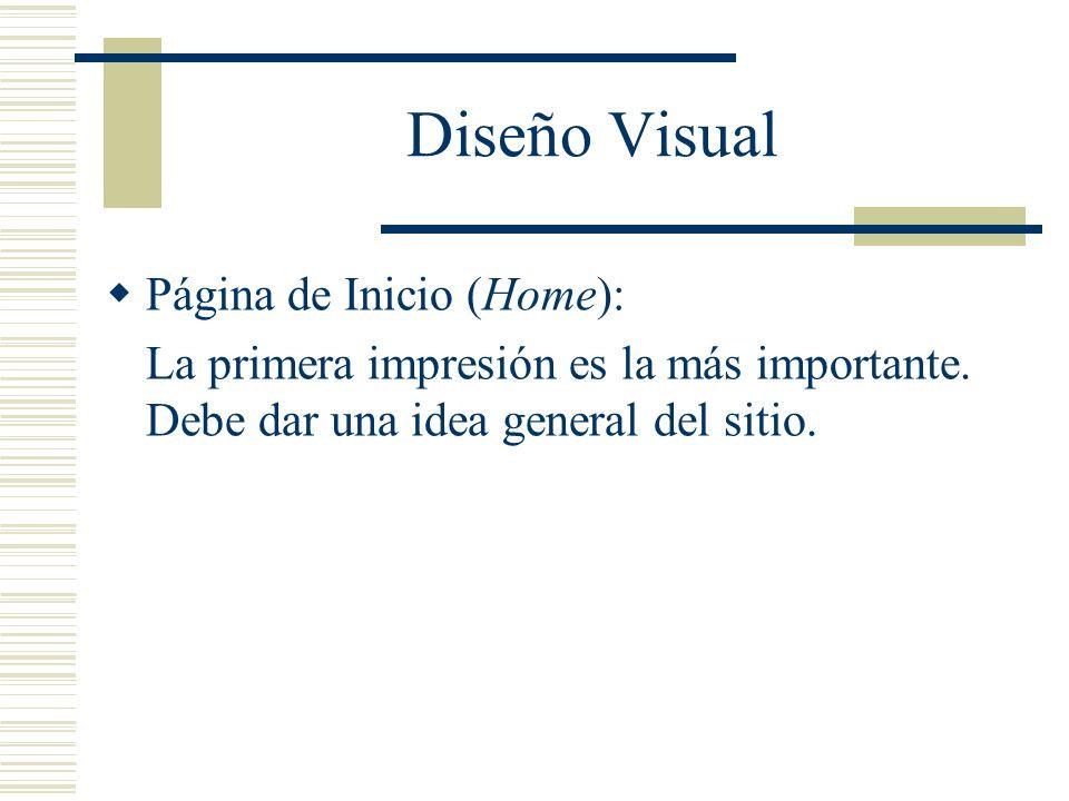 Diseño Visual Página de Inicio (Home):