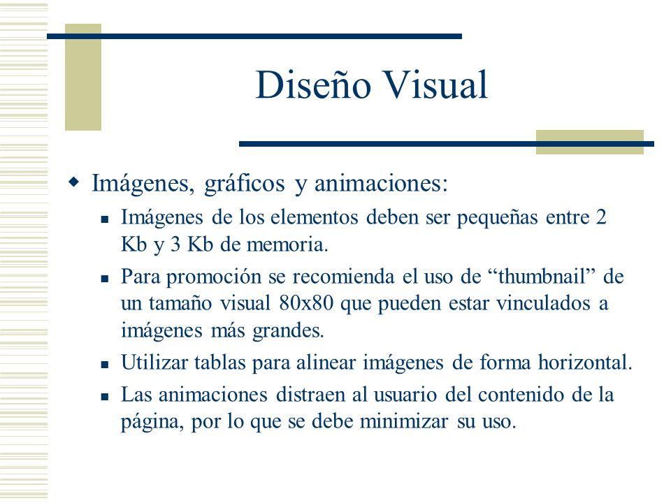 Diseño Visual Imágenes, gráficos y animaciones: