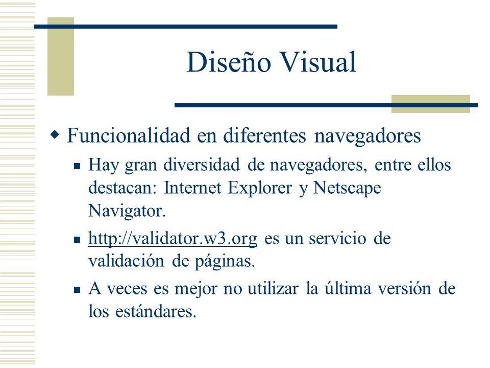 Diseño Visual Funcionalidad en diferentes navegadores