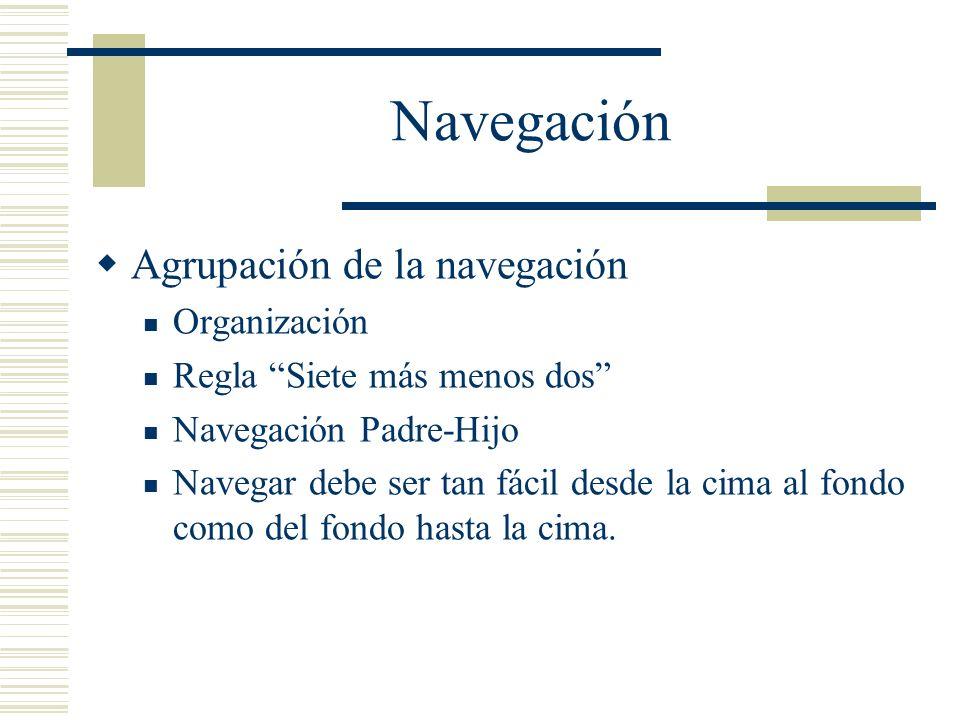 Navegación Agrupación de la navegación Organización