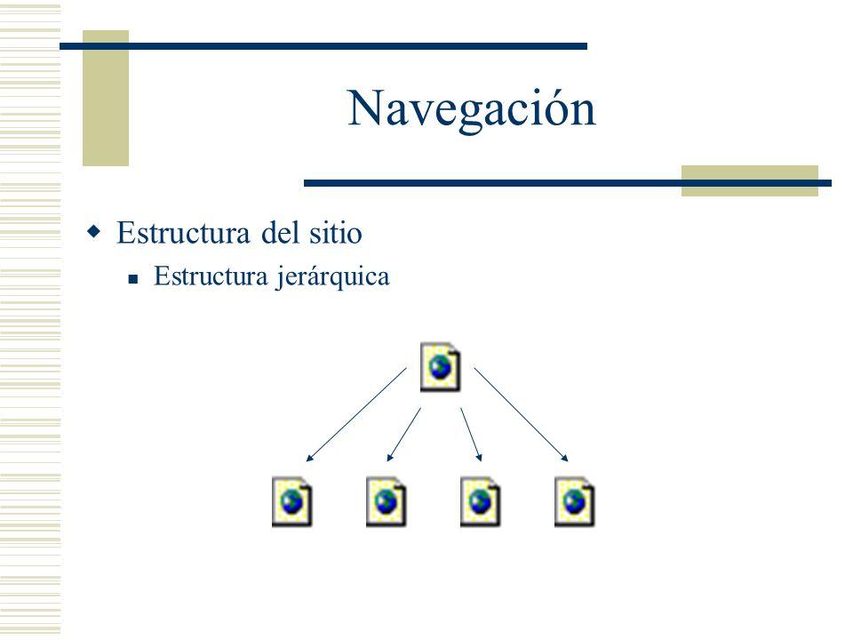 Navegación Estructura del sitio Estructura jerárquica