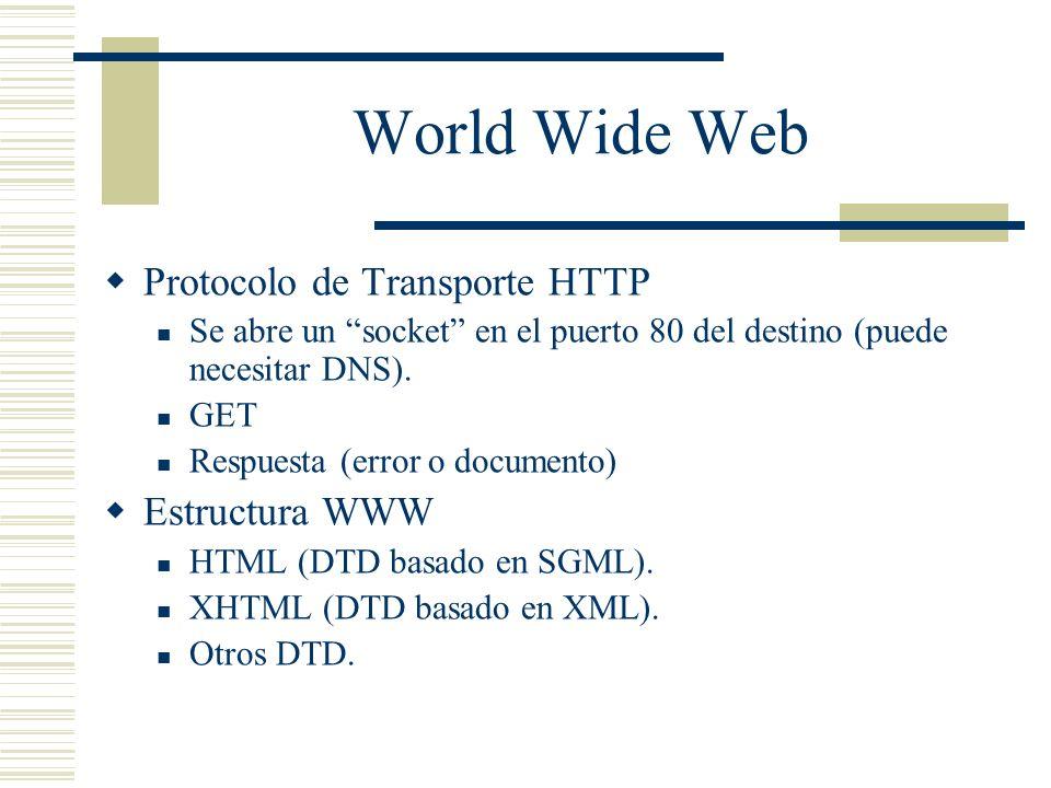 World Wide Web Protocolo de Transporte HTTP Estructura WWW