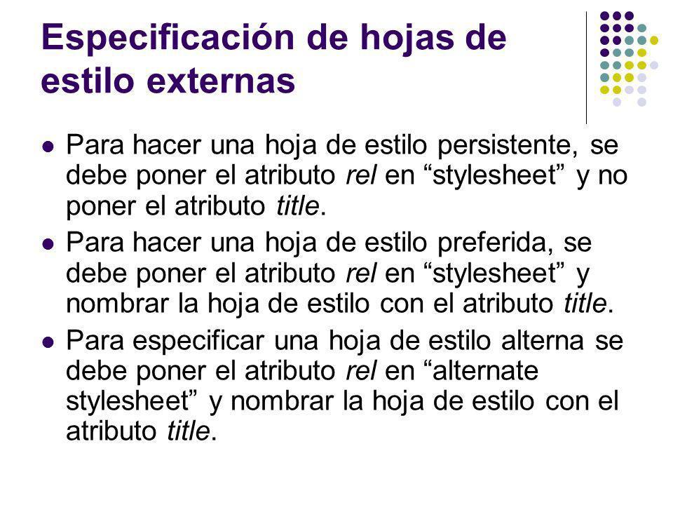 Especificación de hojas de estilo externas
