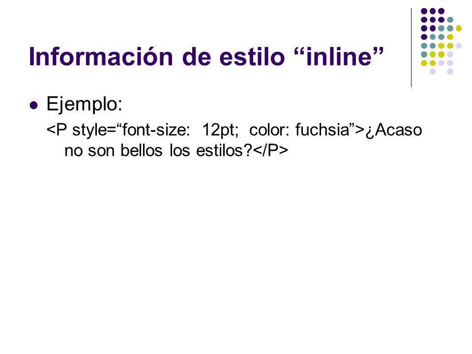 Información de estilo inline