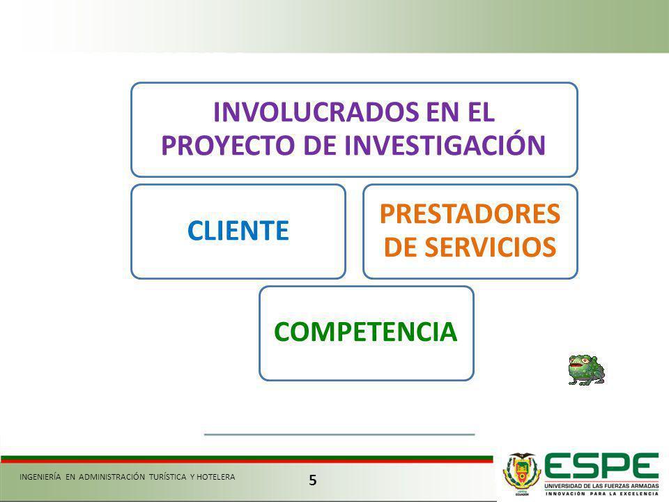 INVOLUCRADOS EN EL PROYECTO DE INVESTIGACIÓN PRESTADORES DE SERVICIOS