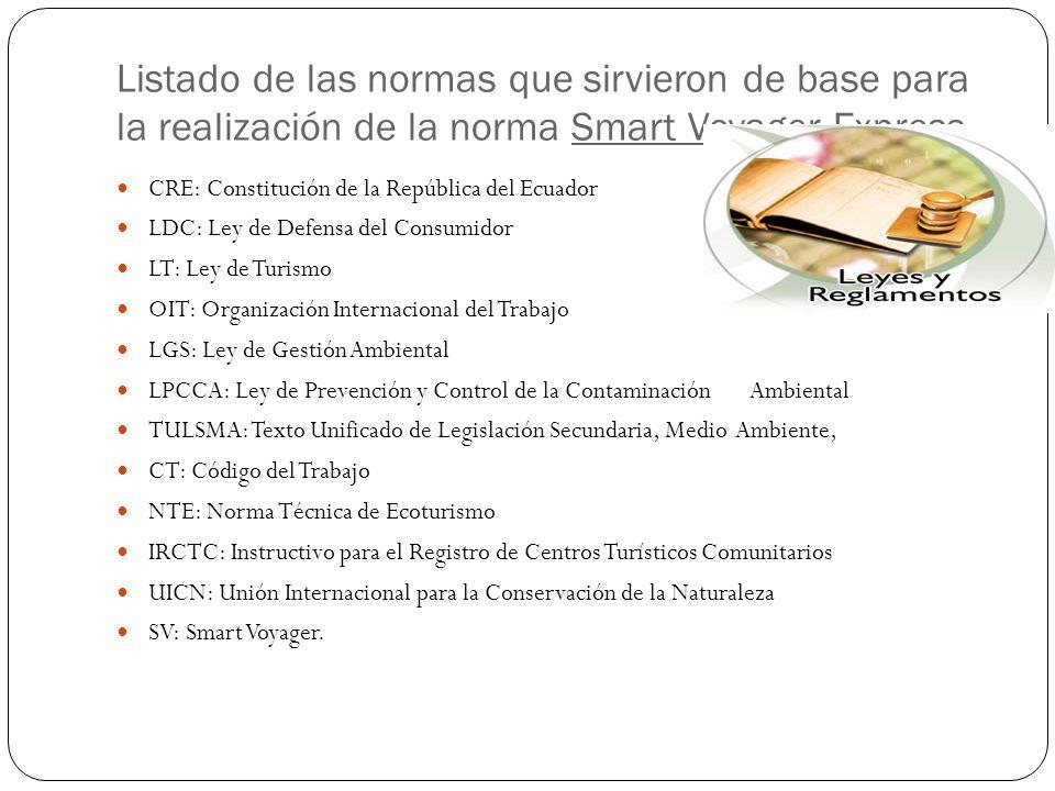 Listado de las normas que sirvieron de base para la realización de la norma Smart Voyager Express