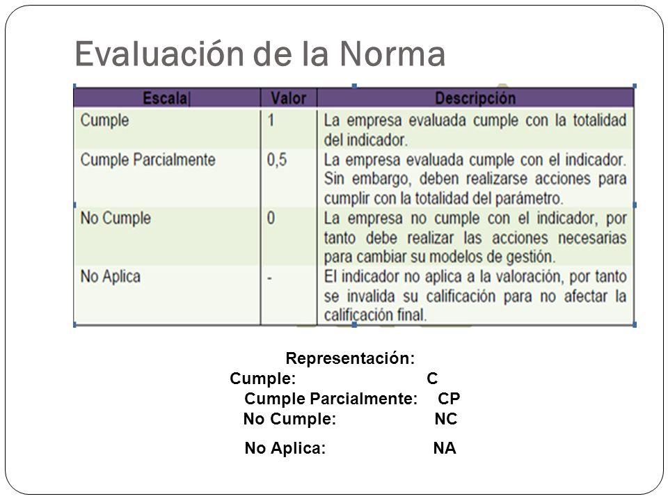 Evaluación de la Norma Representación: Cumple: C