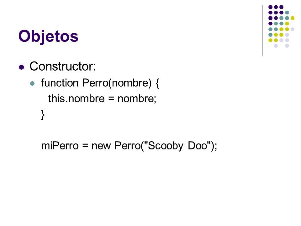 Objetos Constructor: function Perro(nombre) { this.nombre = nombre; }