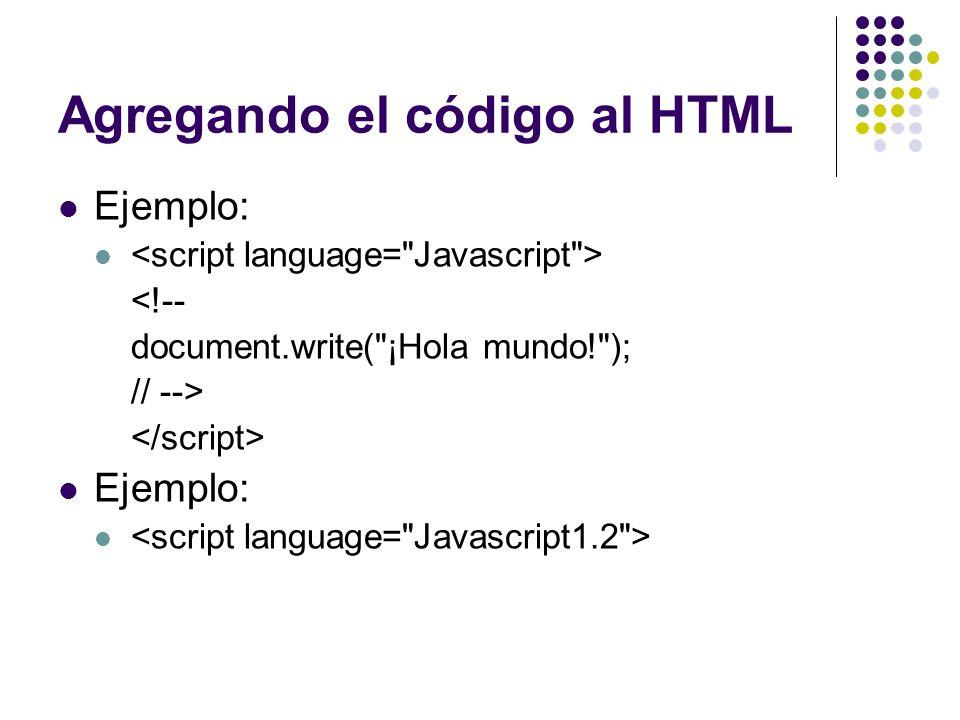 Agregando el código al HTML