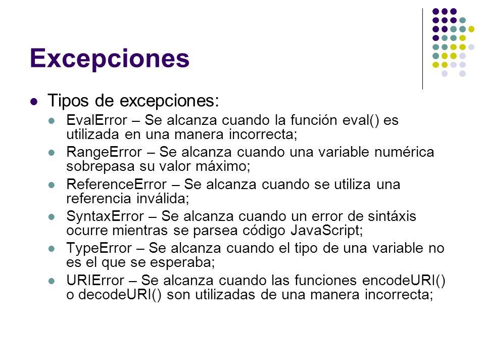 Excepciones Tipos de excepciones: