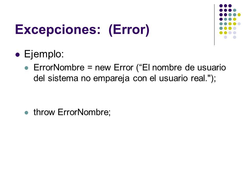 Excepciones: (Error) Ejemplo: