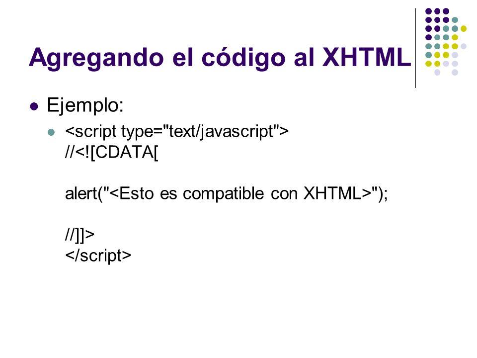 Agregando el código al XHTML
