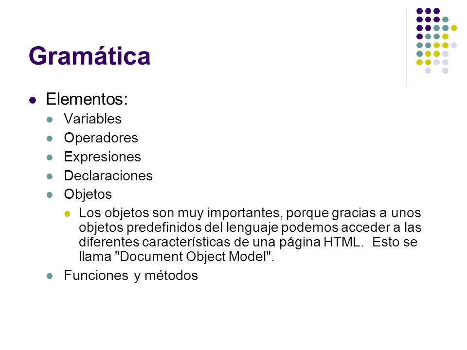 Gramática Elementos: Variables Operadores Expresiones Declaraciones
